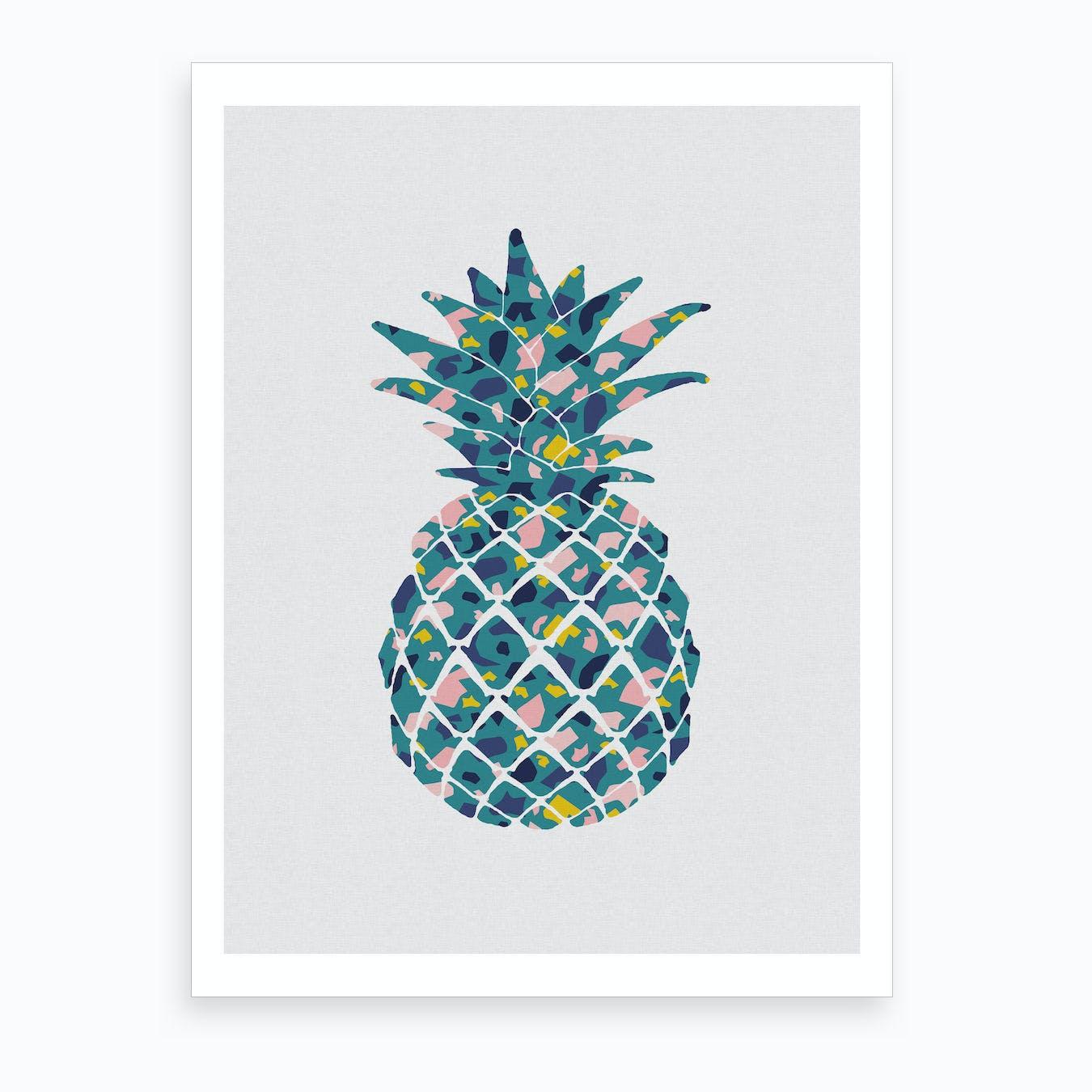 Pineapple Teal Art Print