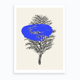 Tropical Leaf Blue Art Print
