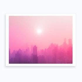 Pink City Skyline Art Print
