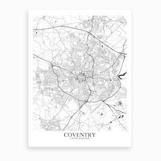 Coventry White Black Map Art Print