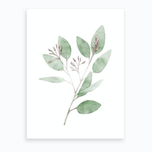 Watercolor Leaves Art Print