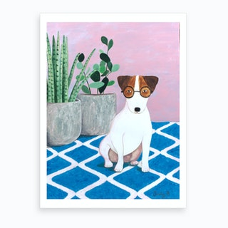 Jack Russell And Plant Art Print