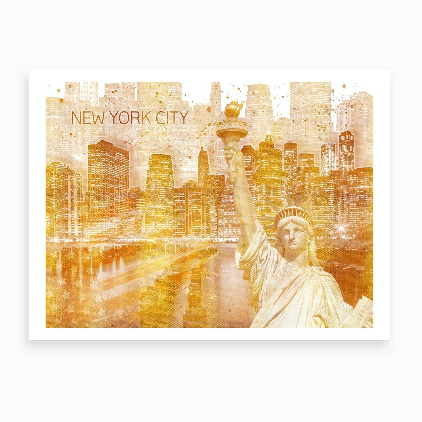 Golden Manhattan Collage Art Print