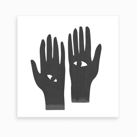 Eye Hands Black Square Art Print