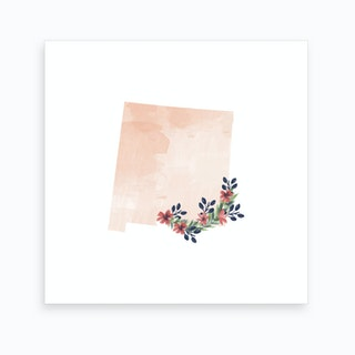 New Mexico Watercolor Floral State Art Print