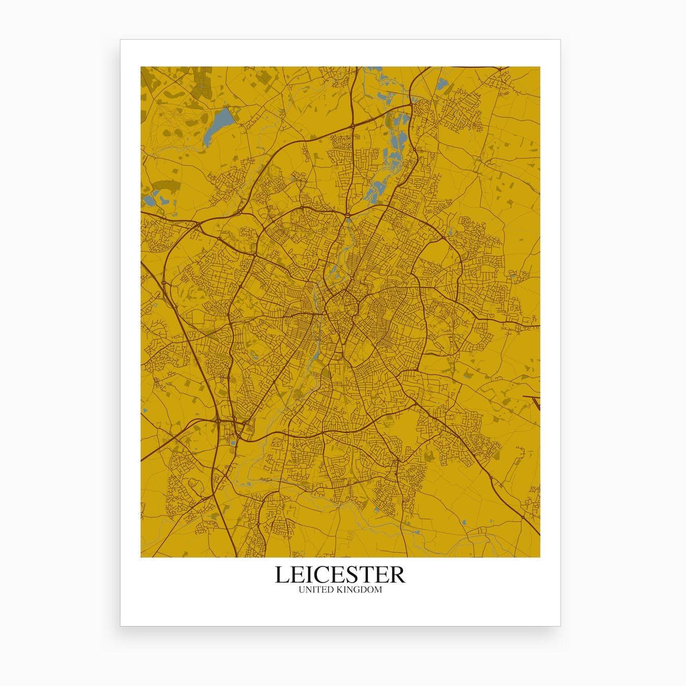Leicester Yellow Blue Map Art Print