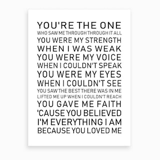 You're the One White and Black Text Art Print