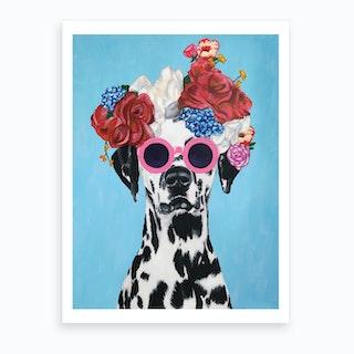 Flower Power Dalmatian Art Print