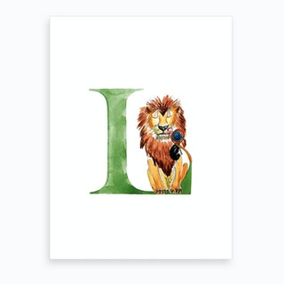 L Lion With A Lollipop  Art Print