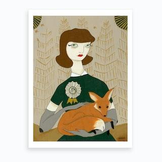 Woman With Fox  Art Print