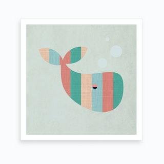 Scandi Whale Nursery Art Print