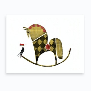 Rocking Horse Vs Woodpecker Art Print