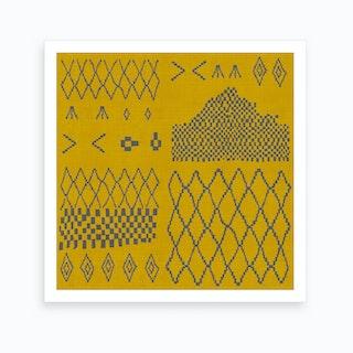 Moroccan Patchwork In Mustard Art Print