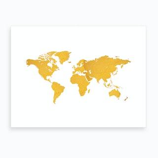 Golden World Map White Art Print