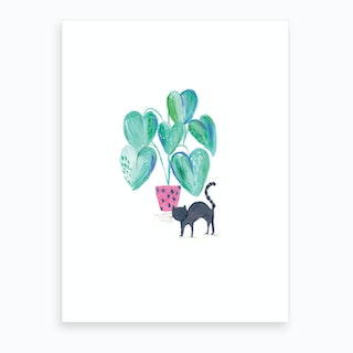 Painted Black Cat And House Plant Art Print