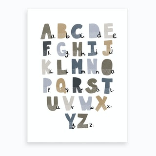 Scandi Alphabet Chart  Navy  Art Print