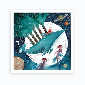 Fox And Whale 4 Art Print