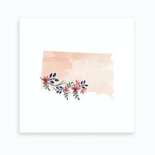 South Dakota Watercolor Floral State Art Print