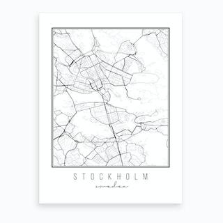 Stockholm Sweden Street Map Art Print