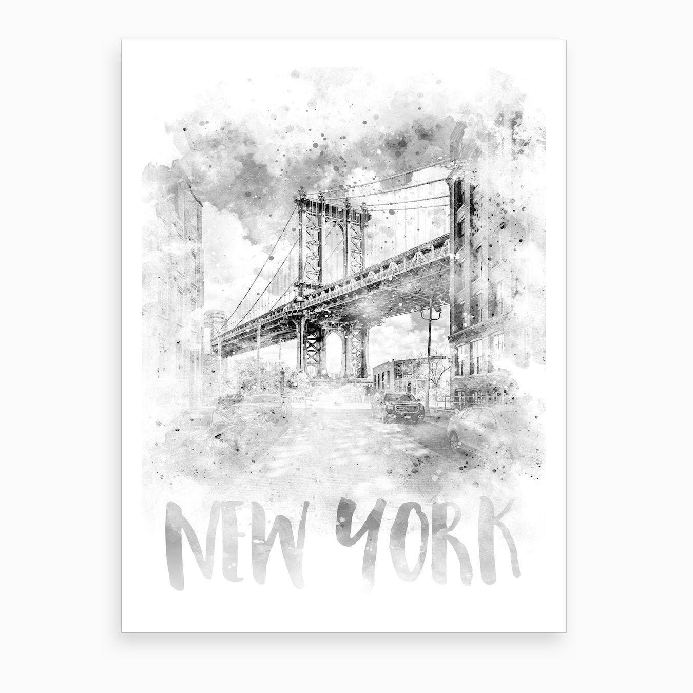 Watercolor Art Nyc Manhattan Bridge Art Print