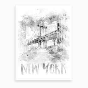 Watercolor Art Nyc Manhattan Bridge Art Print