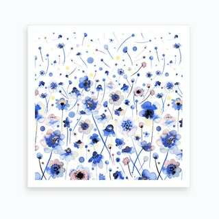 Ink Flowers Degraded Art Print