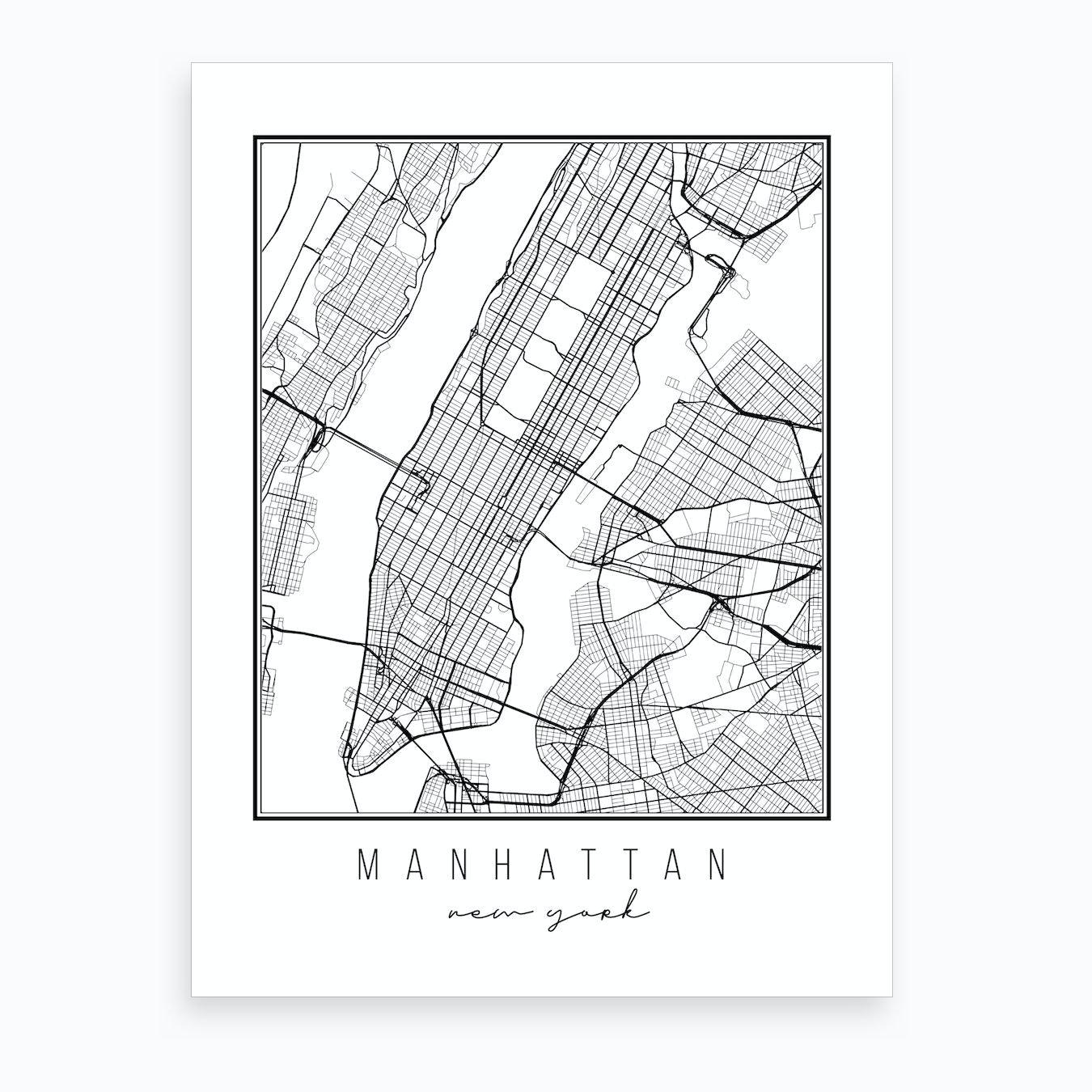 Street Map Of Manhattan New York.Manhattan New York Street Map Art Print