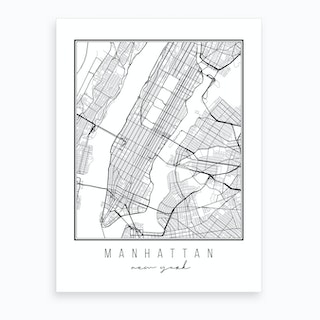 Manhattan New York Street Map Art Print
