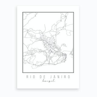 Rio De Janiro Brazil Street Map Art Print