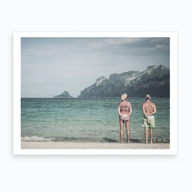 Old Couple On The Beach Art Print
