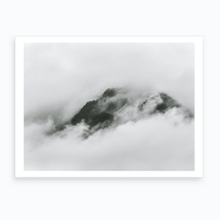 Cloudy Mountain Top Black & White Art Print
