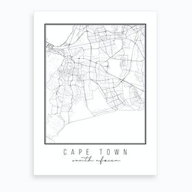 Cape Town South Africa Street Map Art Print