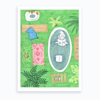 Green Tiled Bath  Art Print