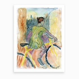 Girl On Yellow Bike Art Print