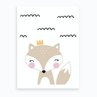 Scandi Beige Fox With Crown Zig Lines Art Print
