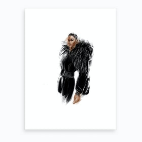 Girl In Black Art Print