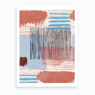 Abstract Striped Geo Red Art Print