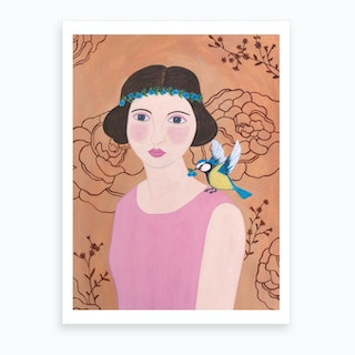 Woman In Pink Dress With Bird Art Print