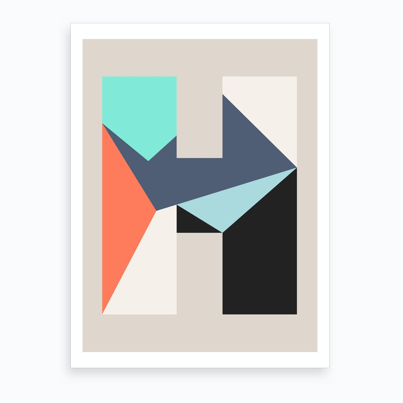 Letter Art Print.Letter H Art Print