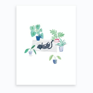 Painted Black Cat On Rug Art Print
