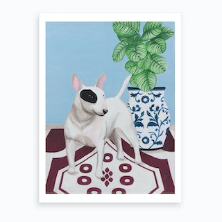 English Bull Terrier With Plant Art Print