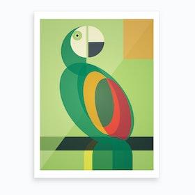 Mid Century Geometric Parrot Art Print