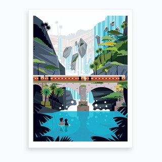 Dhudsagar Waterfall Ft.Couple Art Print