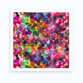 Overlapped Watercolor Dots Square Art Print