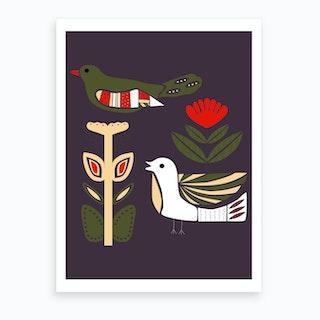 Folkie Birds Art Print