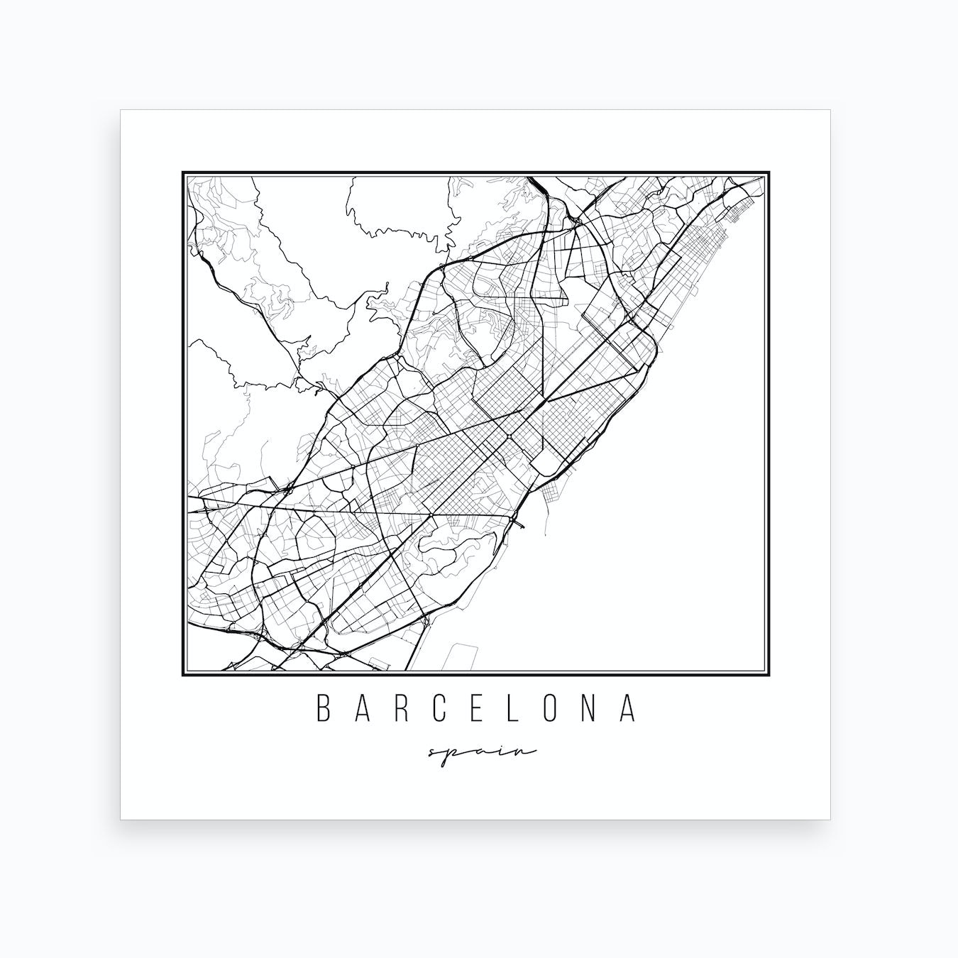 Map Of Spain For Printing.Barcelona Spain Street Map Art Print