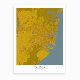 Sydney Yellow Blue Map Art Print