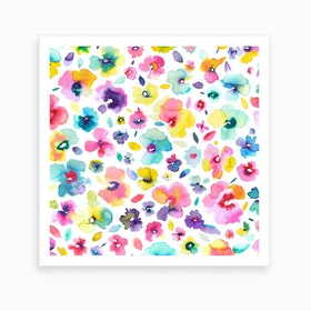 Tropical Flowers Multicolored Square Art Print