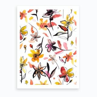 Ink Flowers Yellow Art Print