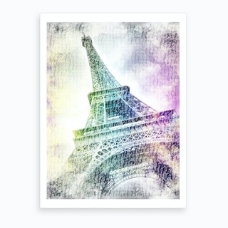Paris Watercolor Eiffel Tower Art Print